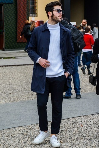How to Wear Navy Sunglasses For Men: Try teaming a navy raincoat with navy sunglasses for a look that's both street style and stylish. Breathe an added touch of sophistication into this ensemble by finishing off with white leather low top sneakers.