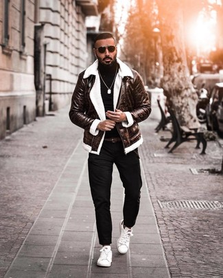 How to wear: white leather low top sneakers, black chinos, black turtleneck, dark brown shearling jacket