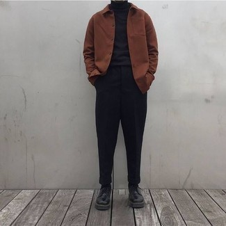 Fashion for 30 Year Old Men: What To Wear: A brown shirt jacket and black chinos combined together are a good match. Channel your inner David Beckham and complement your outfit with a pair of black leather derby shoes.