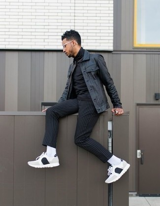 How to Wear a Black Turtleneck For Men: A black turtleneck and black vertical striped chinos? It's easily a wearable ensemble that you can wear on a daily basis. Dial down the formality of this look with white and black athletic shoes.