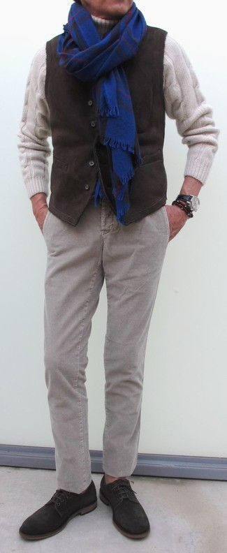 How to wear: dark brown suede derby shoes, grey corduroy chinos, white knit wool turtleneck, dark brown corduroy waistcoat