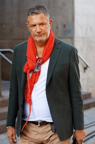 How to wear: red scarf, khaki chinos, white v-neck t-shirt, charcoal blazer