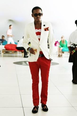 How to wear: black print velvet loafers, red chinos, white and red horizontal striped v-neck t-shirt, white blazer