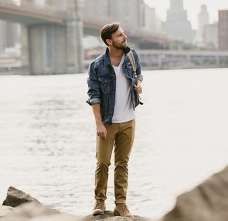 How to wear: brown suede desert boots, mustard chinos, white v-neck t-shirt, navy denim jacket