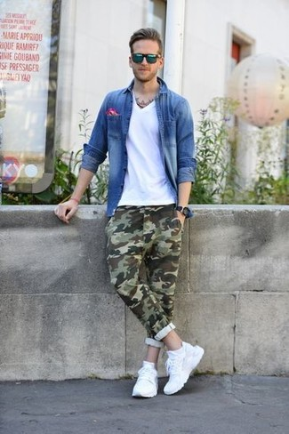 How to wear: white athletic shoes, olive camouflage chinos, white v-neck t-shirt, blue denim shirt