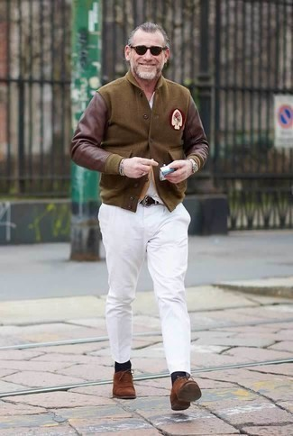 How to Wear a White V-neck T-shirt For Men: This pairing of a white v-neck t-shirt and white chinos looks put together and makes any gentleman look infinitely cooler. Complete your ensemble with brown suede oxford shoes to instantly switch up the outfit.