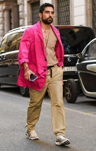How to Wear a Black Canvas Belt For Men: For a tested laid-back option, you can never go wrong with this combo of a hot pink blazer and a black canvas belt. Beige athletic shoes will pull this whole outfit together.