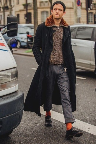 How to wear: black leather boat shoes, charcoal chinos, brown zip sweater, black overcoat