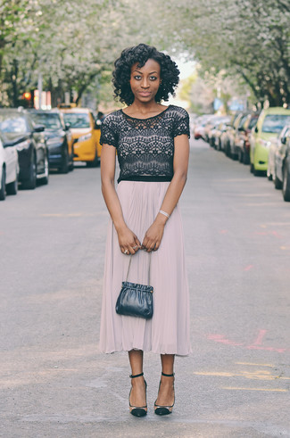 How to wear: navy leather bucket bag, clear suede pumps, beige pleated midi skirt, black lace cropped top