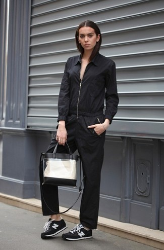 How to wear: clear rubber tote bag, black and white suede low top sneakers, black jumpsuit