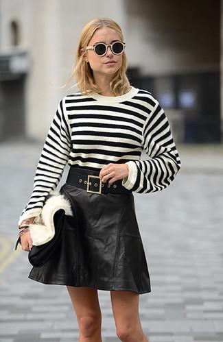 ed2e9b97a4 ... Women's Black Canvas Belt, Black Leather Clutch, Black Leather A-Line  Skirt,