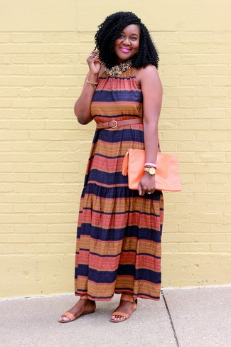 How to wear: tan leather belt, orange leather clutch, tan leather flat sandals, multi colored horizontal striped maxi dress