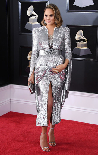 How to wear: silver earrings, silver clutch, silver leather heeled sandals, silver sequin evening dress