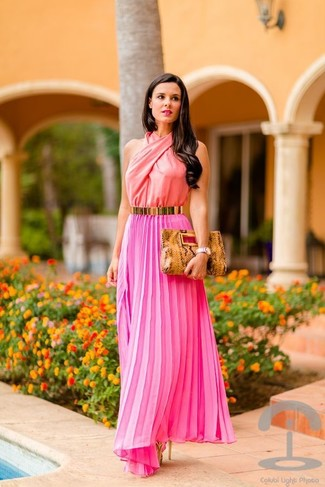 How to wear: gold belt, tan snake leather clutch, gold leather heeled sandals, hot pink pleated maxi dress
