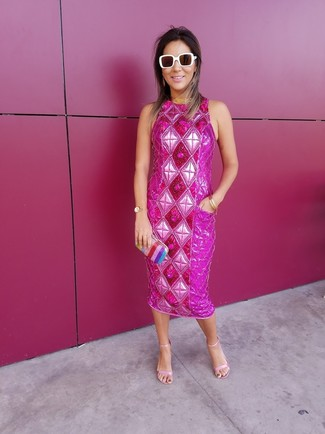 How to wear: white sunglasses, multi colored vertical striped clutch, pink leather heeled sandals, hot pink embellished sheath dress