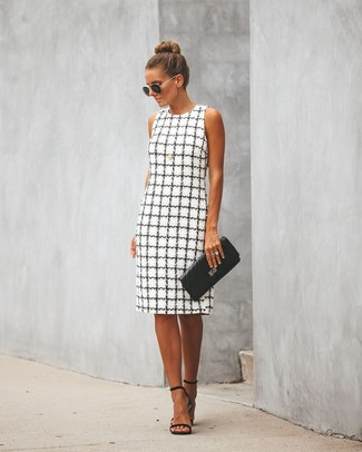 How to Wear Black and Gold Sunglasses For Women: This combo of a white and black check sheath dress and black and gold sunglasses is on the casual side yet it's also cool and absolutely chic. Complete your ensemble with a pair of black leather heeled sandals to shake things up.