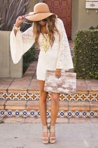How to wear: khaki wool hat, tan snake leather clutch, beige leather heeled sandals, white lace shift dress