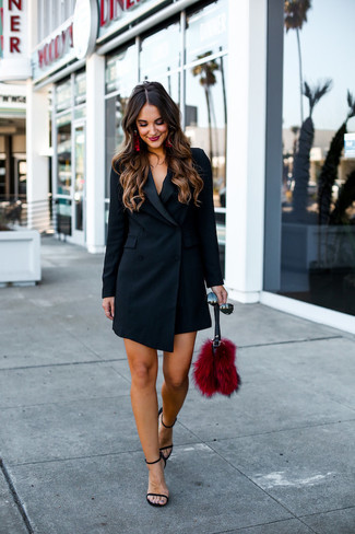 How to wear: black sunglasses, red fur clutch, black leather heeled sandals, black tuxedo dress