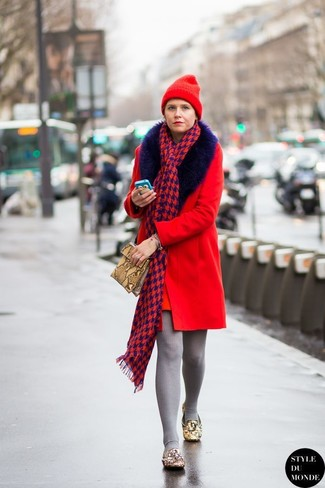 How to wear: red beanie, tan snake leather clutch, tan embellished leather loafers, red fur collar coat