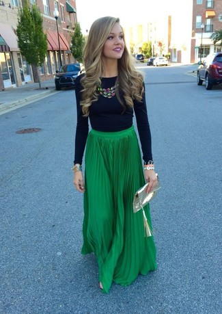 8f580f813 How to wear: multi colored necklace, gold leather clutch, green pleated  maxi skirt