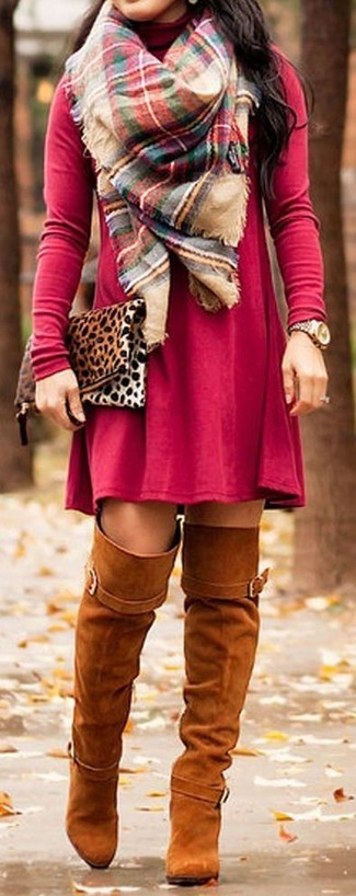 How to wear: multi colored plaid scarf, tan leopard suede clutch, tobacco suede over the knee boots, red casual dress