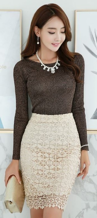 How to wear: white pearl necklace, gold leather clutch, beige lace pencil skirt, dark brown crew-neck sweater