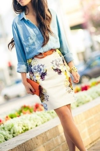 How to wear: tobacco leather belt, tobacco leather clutch, white floral pencil skirt, light blue denim shirt