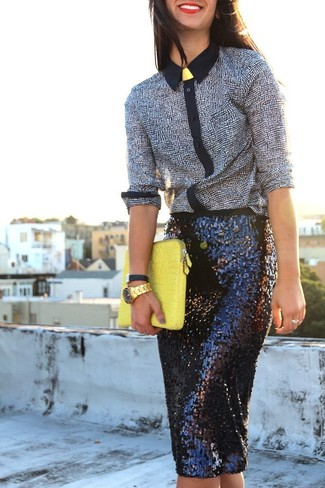 How to wear: gold watch, yellow leather clutch, black sequin pencil skirt, black and white print dress shirt