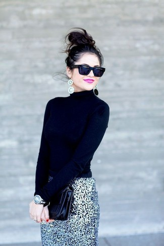 How to wear: black sunglasses, black leather clutch, silver sequin pencil skirt, black turtleneck