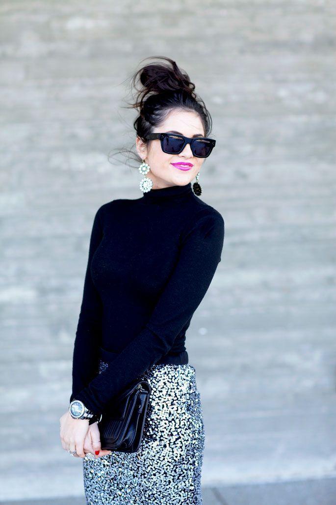 5a51e23e89 Women's Black Sunglasses, Black Leather Clutch, Silver Sequin Pencil Skirt,  Black Turtleneck | Women's Fashion | Lookastic UK