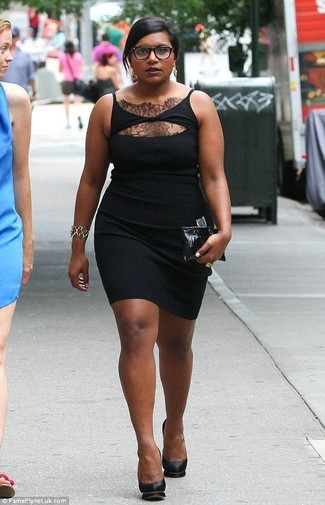 How to wear: gold bracelet, black leather clutch, black leather pumps, black lace bodycon dress