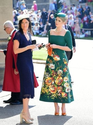 How to wear: green embellished hat, orange leather clutch, orange suede pumps, dark green embroidered midi dress