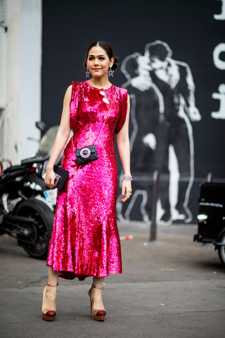 How to wear: silver bracelet, black quilted leather clutch, tan satin pumps, hot pink sequin midi dress