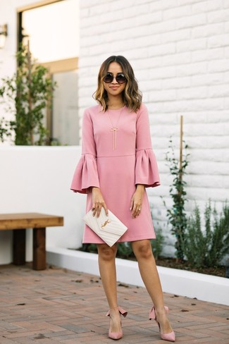 How to wear: black sunglasses, white quilted leather clutch, pink suede pumps, pink ruffle shift dress