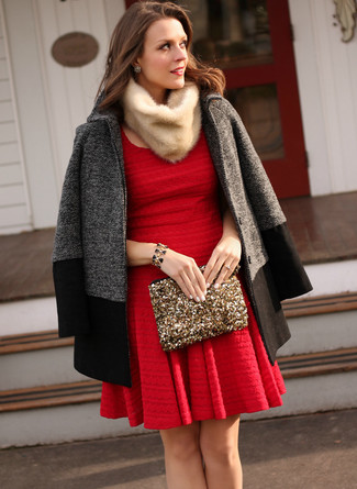 Women's Looks & Outfits: What To Wear In 2020: The go-to for laid-back style? A charcoal coat with a red skater dress.