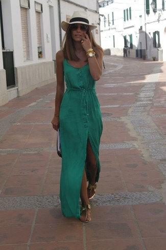 How to wear: beige straw hat, black and white leather clutch, gold leather thong sandals, green maxi dress