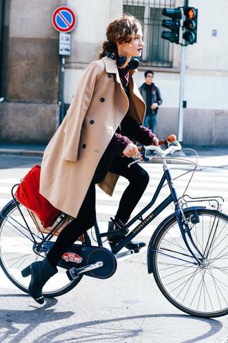 How to wear: camel coat, black blazer, burgundy cable sweater, black skinny jeans