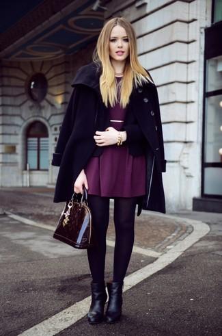 How to wear: black coat, black blazer, purple skater dress, black leather ankle boots