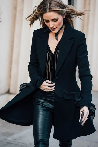 Olivia Palermo wearing Black Coat, Black Chiffon Button Down Blouse, Black Skinny Pants, Black Leather Choker