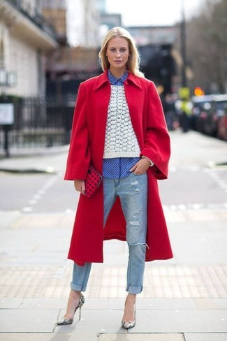How to wear: red coat, white cable sweater, white and blue gingham dress shirt, light blue ripped jeans