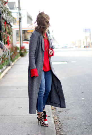 How to wear: charcoal coat, red cable sweater, blue skinny jeans, black suede gladiator sandals