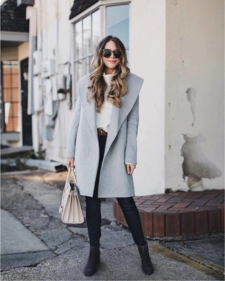 How to wear: grey coat, white cowl-neck sweater, black skinny jeans, black suede ankle boots