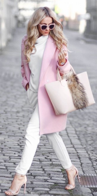 How to wear: pink coat, white cowl-neck sweater, white tapered pants, beige leather heeled sandals