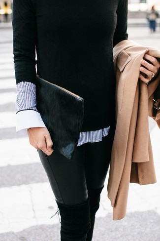 How to wear: camel coat, black crew-neck sweater, blue vertical striped dress shirt, black leather skinny jeans