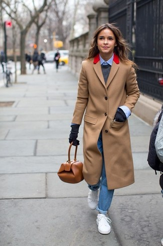 Miroslava Duma wearing Camel Coat, Charcoal Crew-neck Sweater, Light Blue Dress Shirt, Blue Boyfriend Jeans