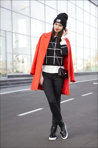 How to wear: red coat, black and white check crew-neck sweater, white dress shirt, black skinny jeans