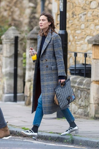 How to wear: grey plaid coat, navy crew-neck sweater, blue jeans, silver leather pumps