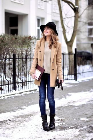 Swing into something classic yet on-trend with a camel coat and a hat. For shoes, choose a pair of black leather booties. So when summer is done and autumn is settling in, you'll find this getup to be your everything.