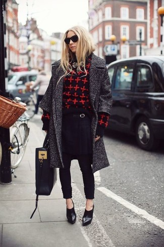 How to wear: charcoal coat, red and black print crew-neck sweater, black tapered pants, black leather ankle boots