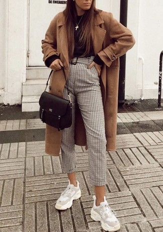 How to wear: camel coat, black crew-neck sweater, beige check tapered pants, white athletic shoes